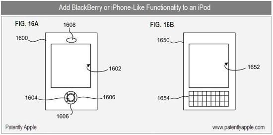 Patent iPod Touch met Blackberry-functionaliteit
