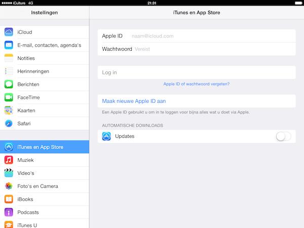 Inloggen in de App Store