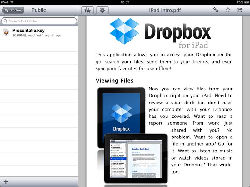 Dropbox op de iPad
