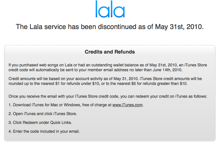 LaLa site boodschap