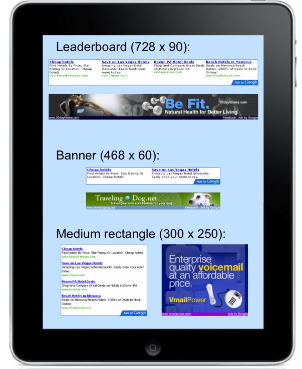 Google AdSense voor de iPad