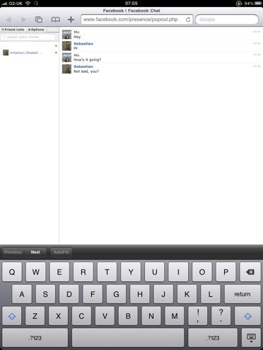 Facebook chat op de iPad