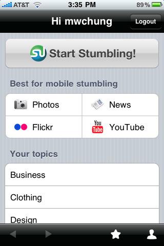 Screenshot van StumbleUpon voor de iPhone