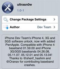 Ultrasn0w 1.0-1 unlock voor de iPhone 4