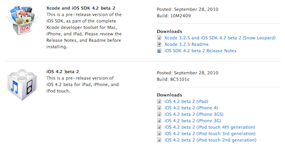 iOS 4.2 Beta 2 - Developer Portal