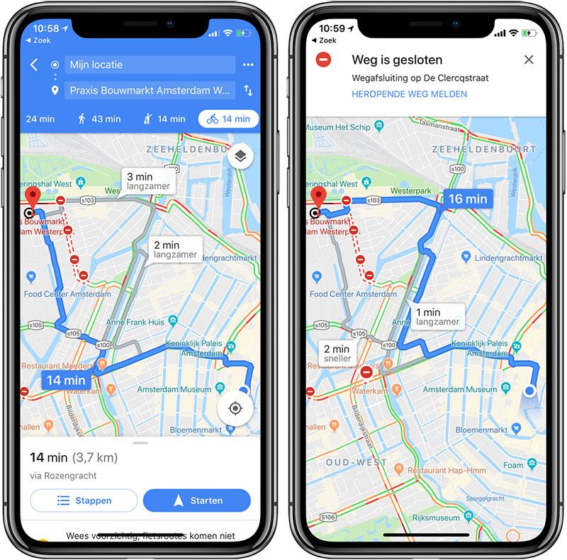 Google Maps fietsnavigatie