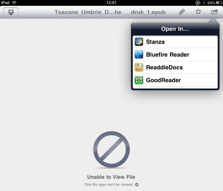 vanuit dropbox app kun je e-books exporteren naar sommige ereader apps