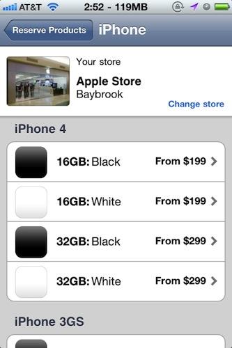Witte iPhone 4 in Apple Store-app