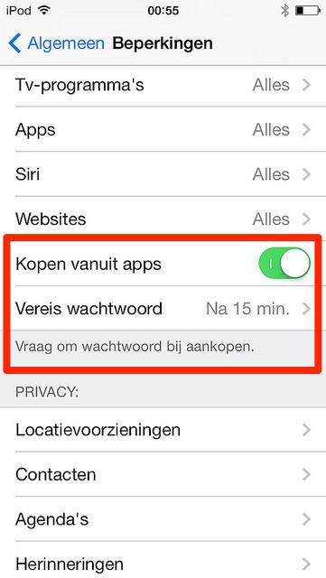 aankopen in apps uitschakelen