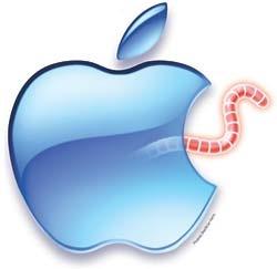 Cydia-worm uit een appel