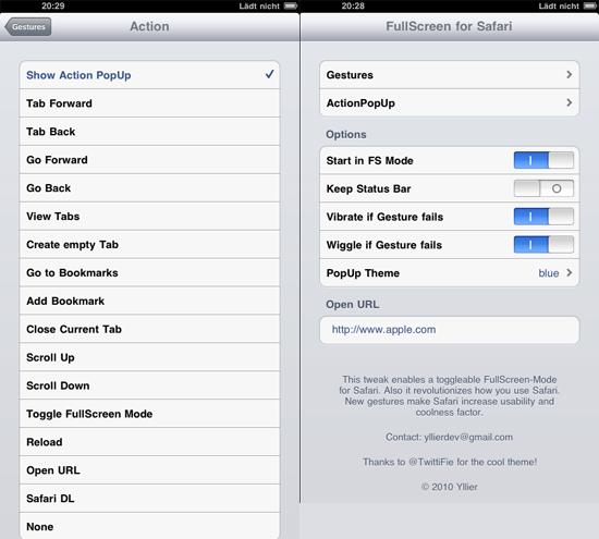 FullScreen for iPad - Instellingen