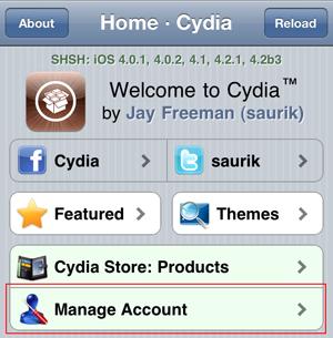Cydia: Manage Account
