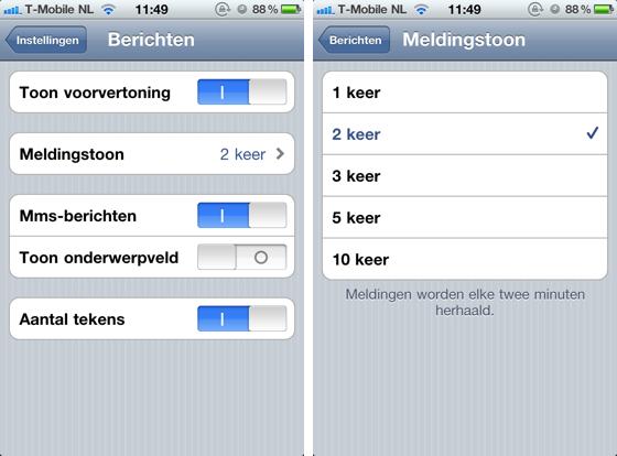 Meldingstoon Berichten: iOS 4.3