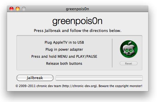 Jailbreak 2e generatie Apple TV met greenpois0n RC6