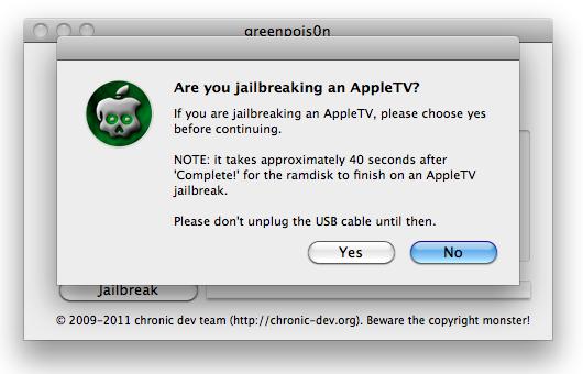 Greenpois0n jailbreak Apple TV