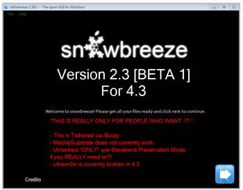 sn0wbreeze 2.3b1: tethered iOS 4.3 jailbreak