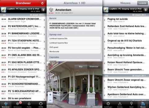 Alarmfase 1 HD voor iPad meldingen brandweer en nieuws