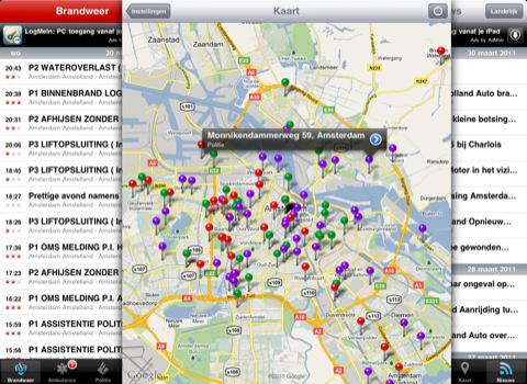 Alarmfase 1 HD voor iPad incidenten op kaart