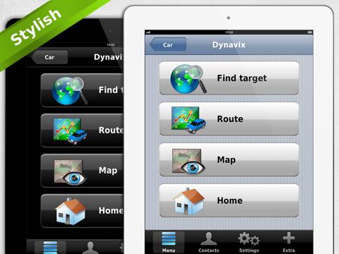 Navigatiesysteem Dynavix voor de iPad opties