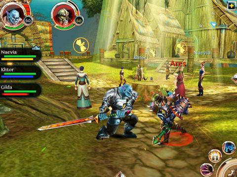 iPad versie Order and Chaos Online vechten met orc
