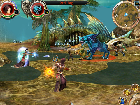 iPad versie Order and Chaos Online vechten met magie