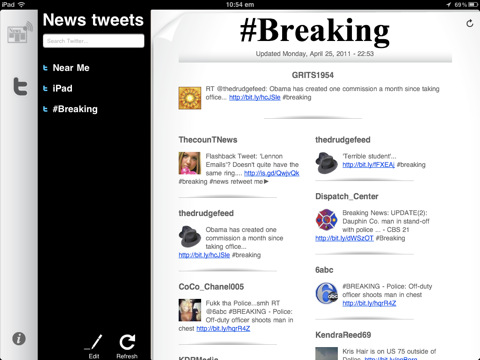 NewsTweet Reader voor iPad twitter zoekopdracht