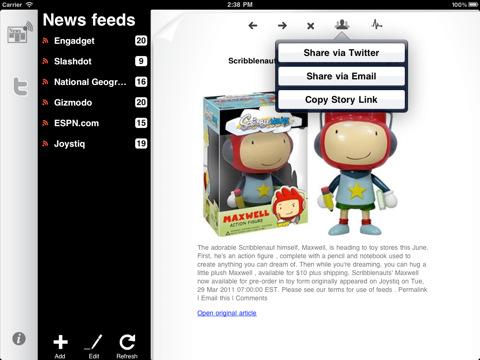 NewsTweet Reader voor iPad feeds