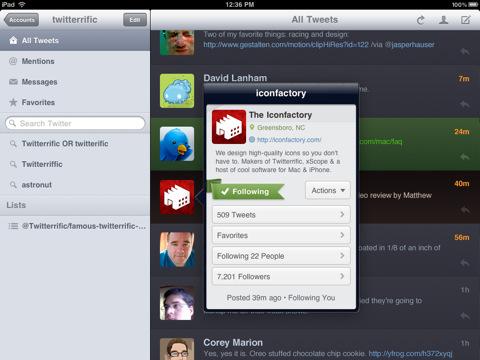 Twitteriffic voor iPad tweets en profielinformatie