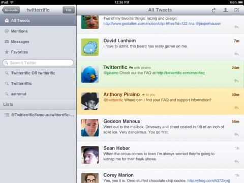 Twitteriffic voor iPad tweets
