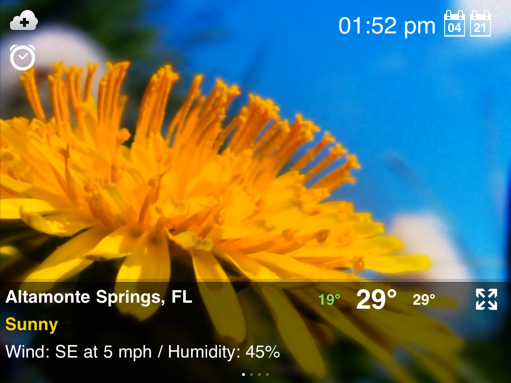 Weather Motion HD voor de iPad weerbeeld zonnig