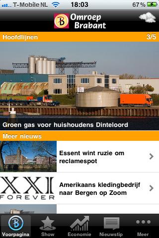Omroep Brabant app voor iPhone hoofdmenu