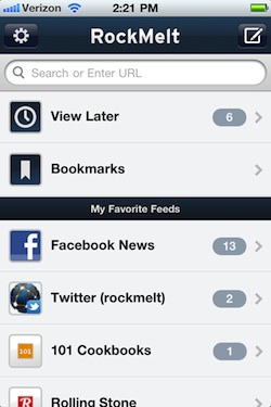 Rockmelt iPhone app