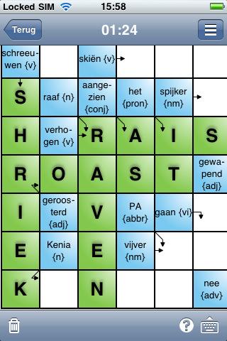 Kruiswoordpuzzels half ingevuld