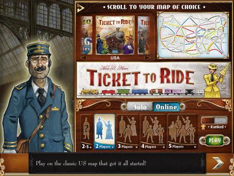 Ticket to Ride voor de iPad startscherm