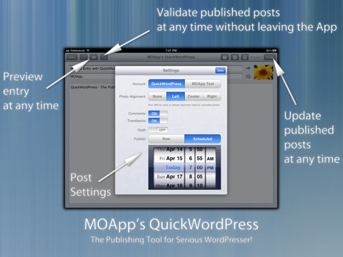 QuickWordPress iPad applicatie instellingen