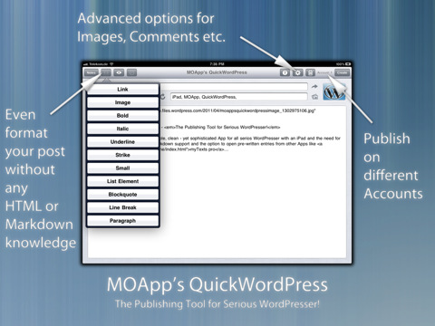 QuickWordPress iPad applicatie HTML coderingen