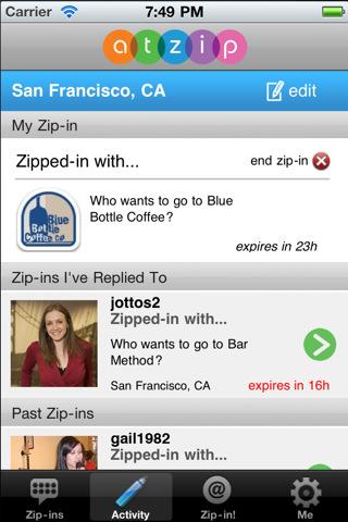 Sociale netwerken voor de iPhone AtZip