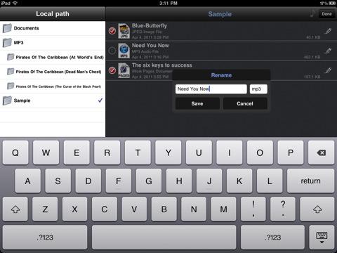 Phone Drive voor iPad mappen bewerken