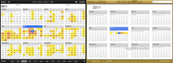 Week Cal HD en Calendar in iOS 5 (iPad) vergeleken