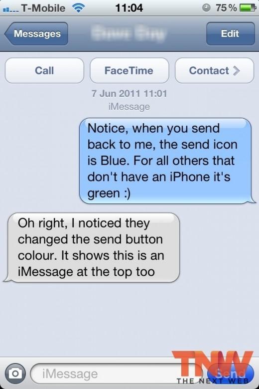 iOS 5 Uitgelicht iMessage conversatie