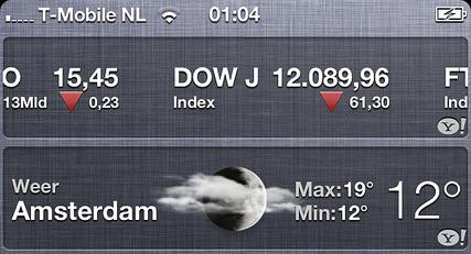 Weer- en Aandelen-widget in iOS 5 via berichtencentrum