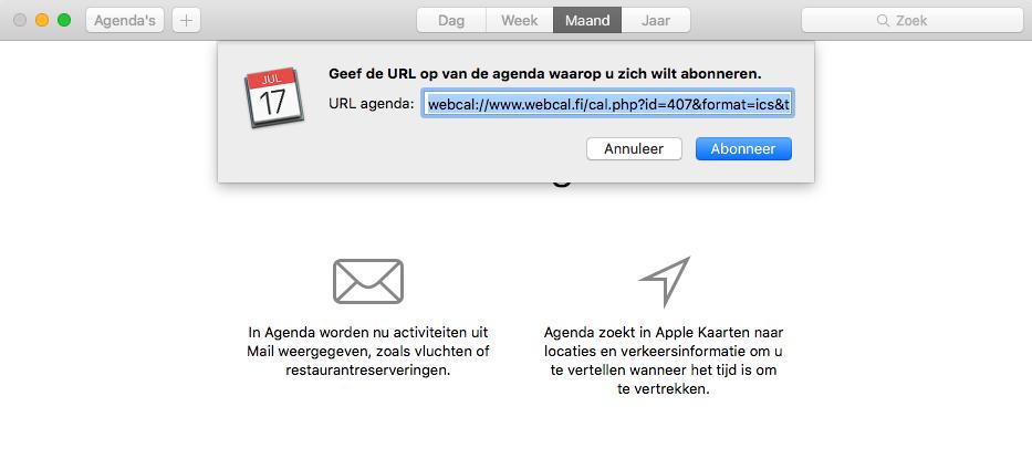 Agenda Mac abonneren