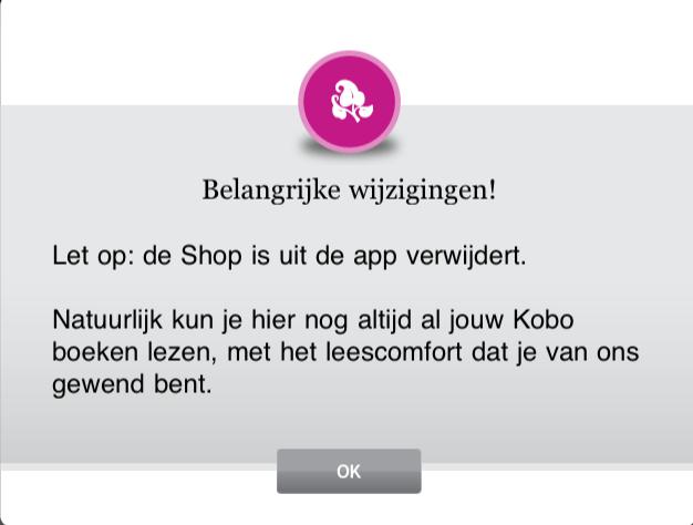 Kobo heeft de in-app winkel uit de app verwijderd.