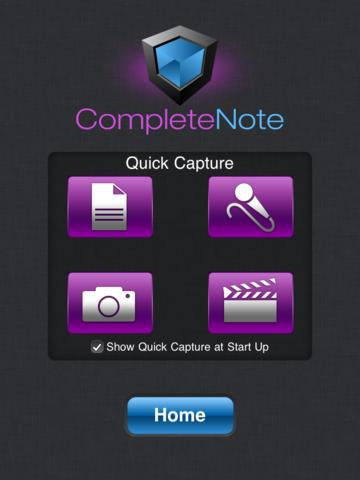 CompleteNote Quick Capture scherm