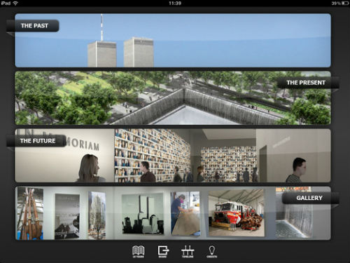 The 9-11 Memorial app voor iPad hoofdmenu
