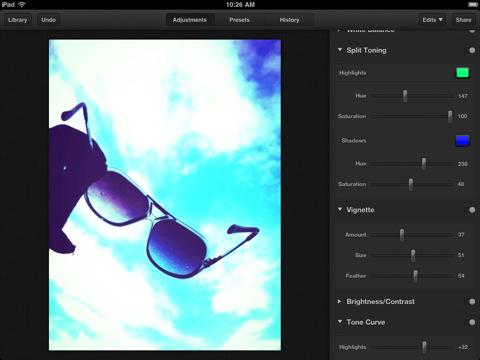 Luminance iPad sliders voor instellingen