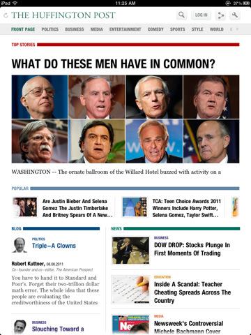 Huffington Post nieuwe layout op de iPad