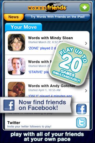 Words with Friends Facebook spelers