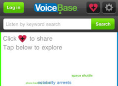 VoiceBase iPhone app zoeken in podcasts