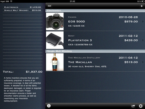 home inventory manager ipad